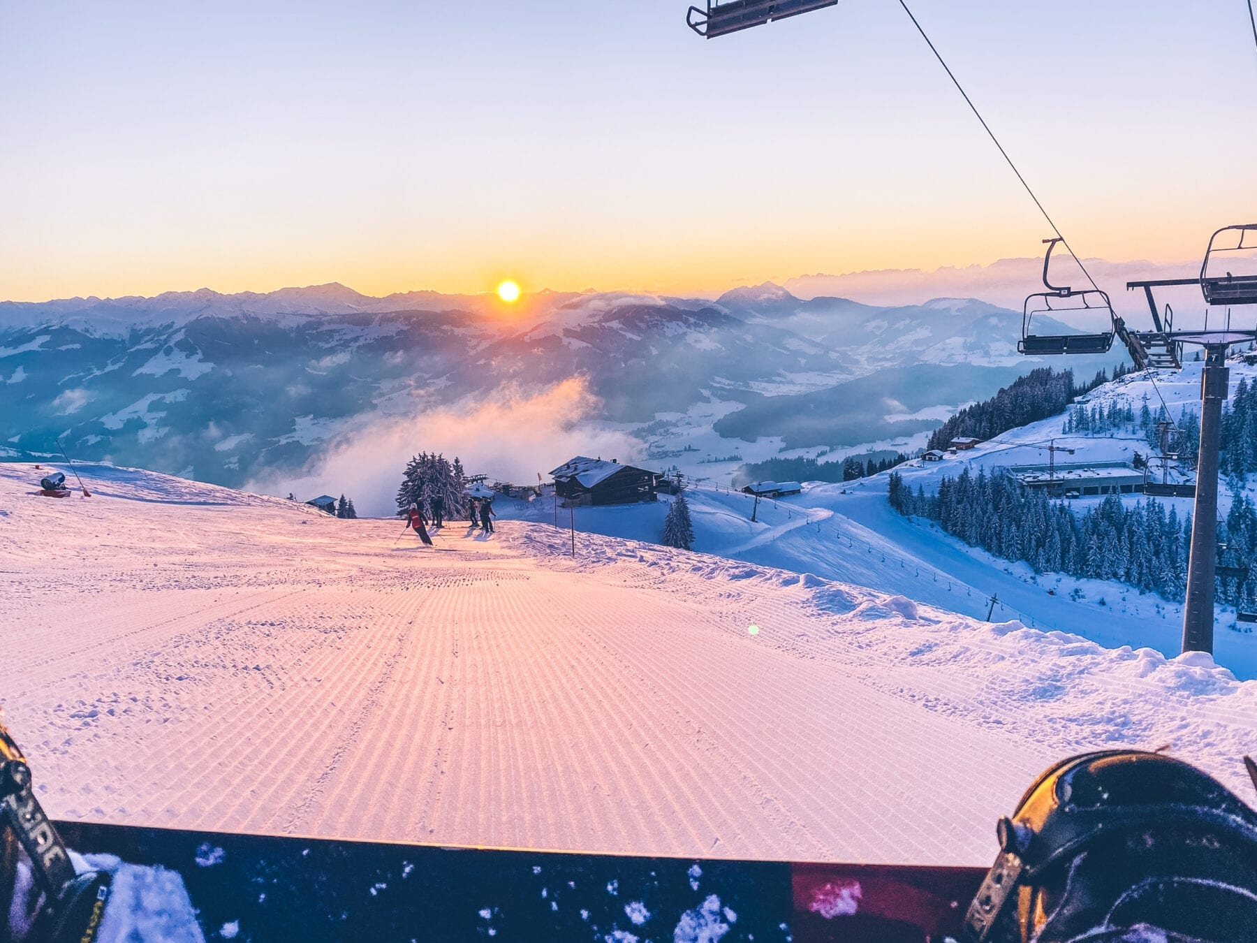 SkiWelt zonsondergang