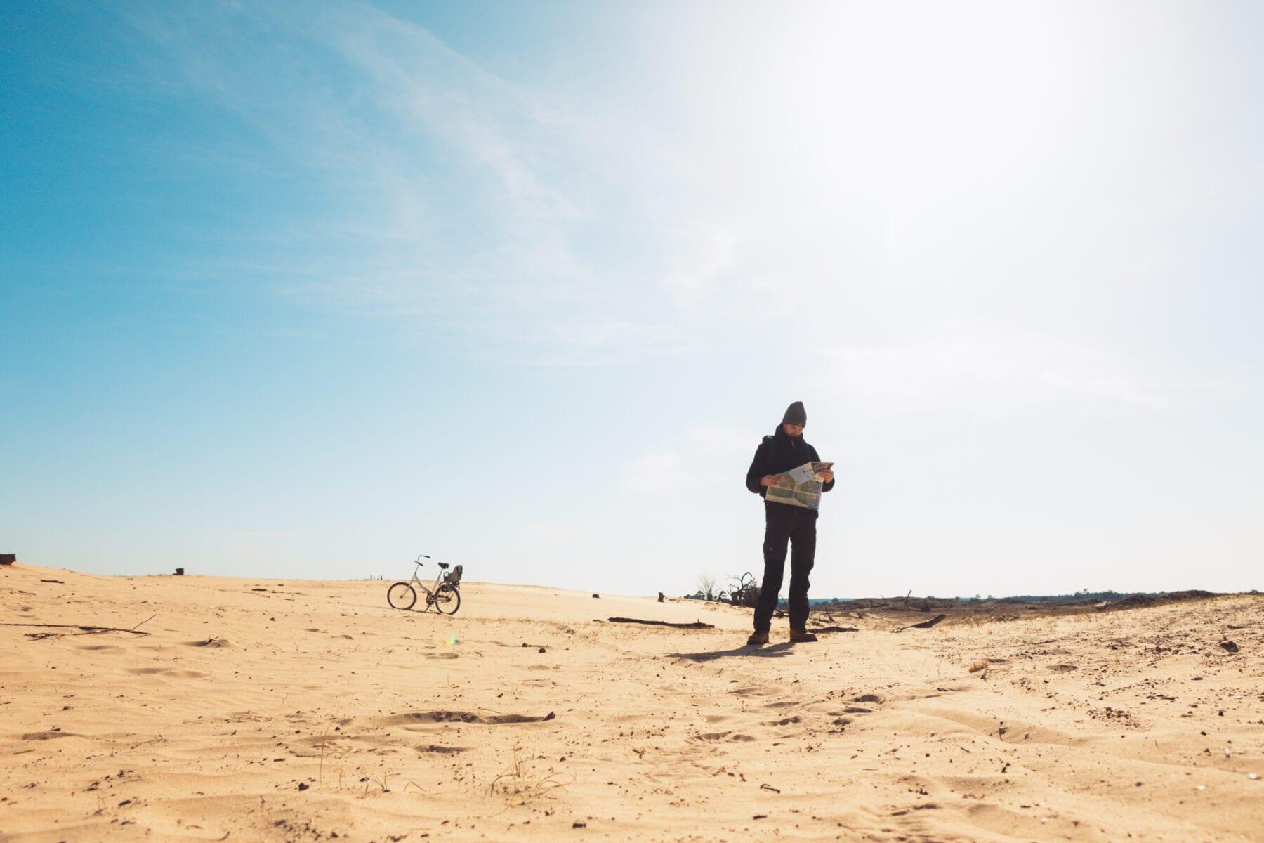 Het Nationale Park De Hoge Veluwe zandverstuiving