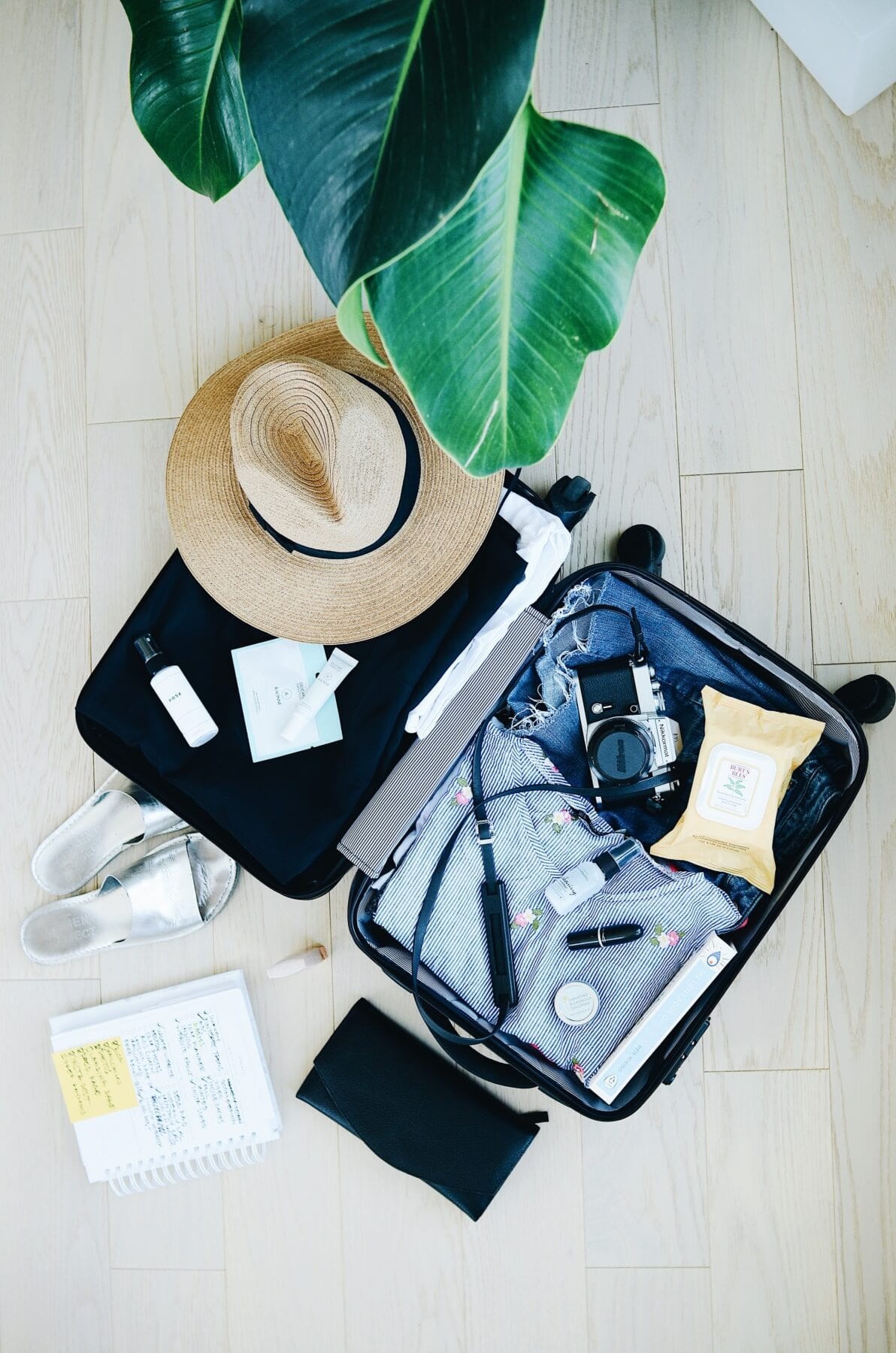 voorbereid op reis koffer
