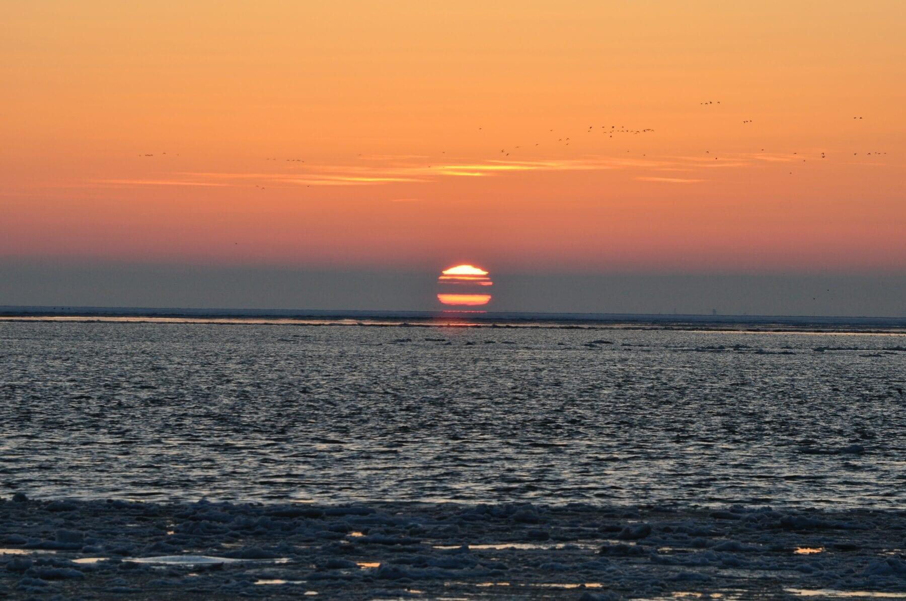 Het waddengebied zonsondergang