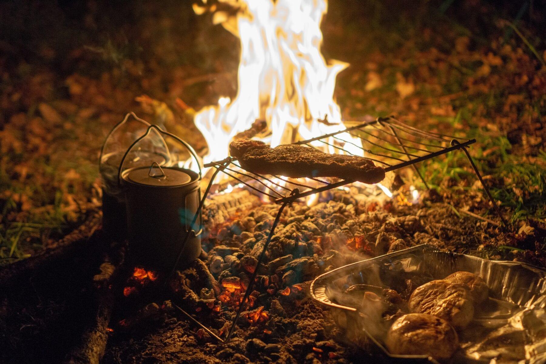 Koken op vuur rooster