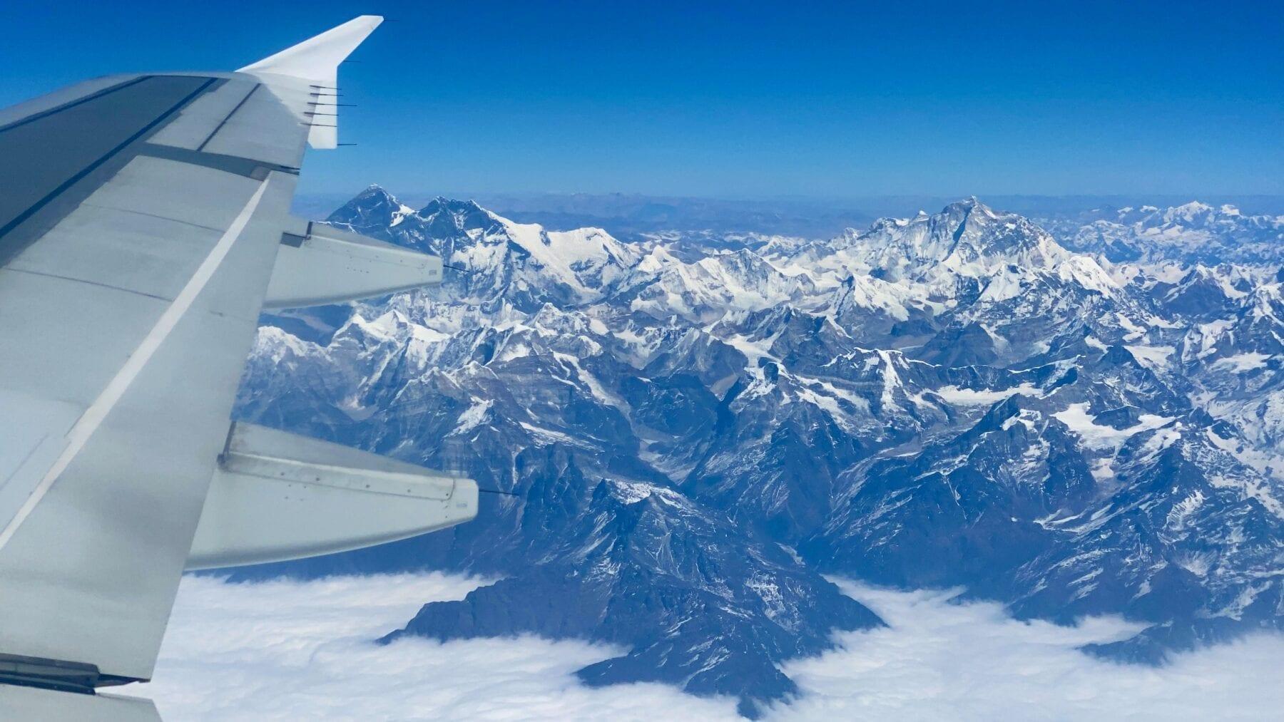 Mount Everest vanuit vliegtuig