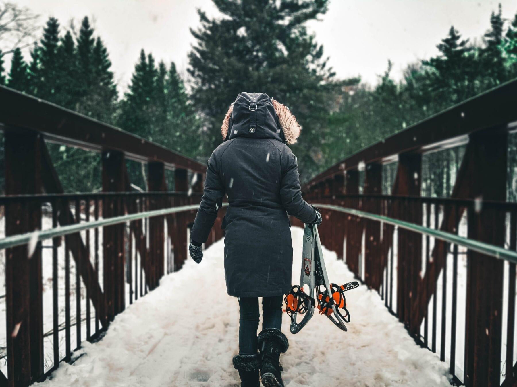 blijf warm in de winter kou sneeuwschoenwandeling