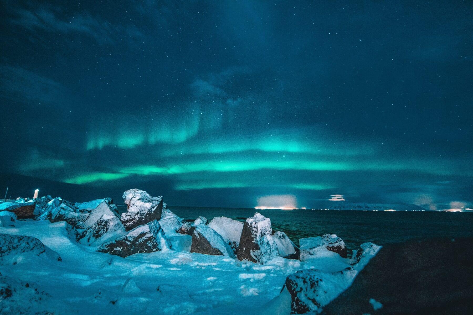 IJsland landshap noorderlicht