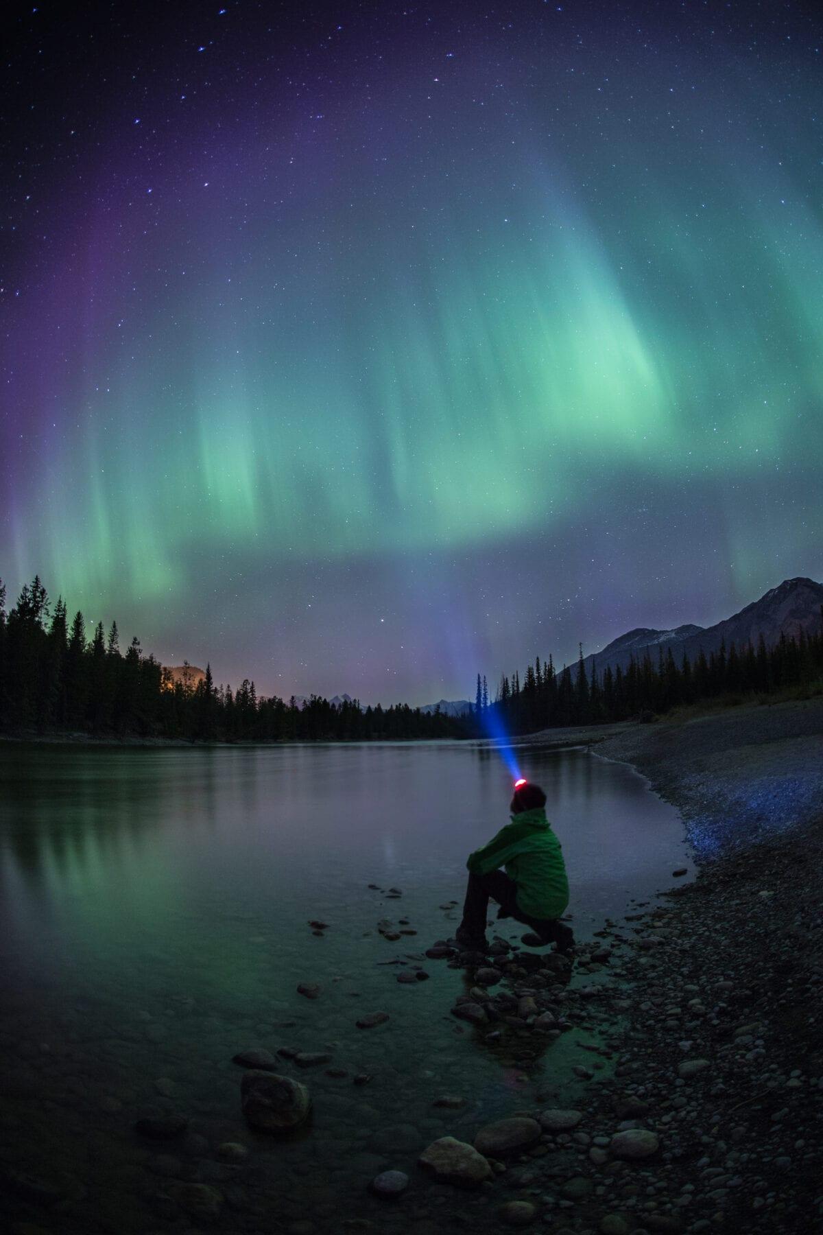 Het noorderlicht tijdens een Wintersport in Canada Edmonton Jasper