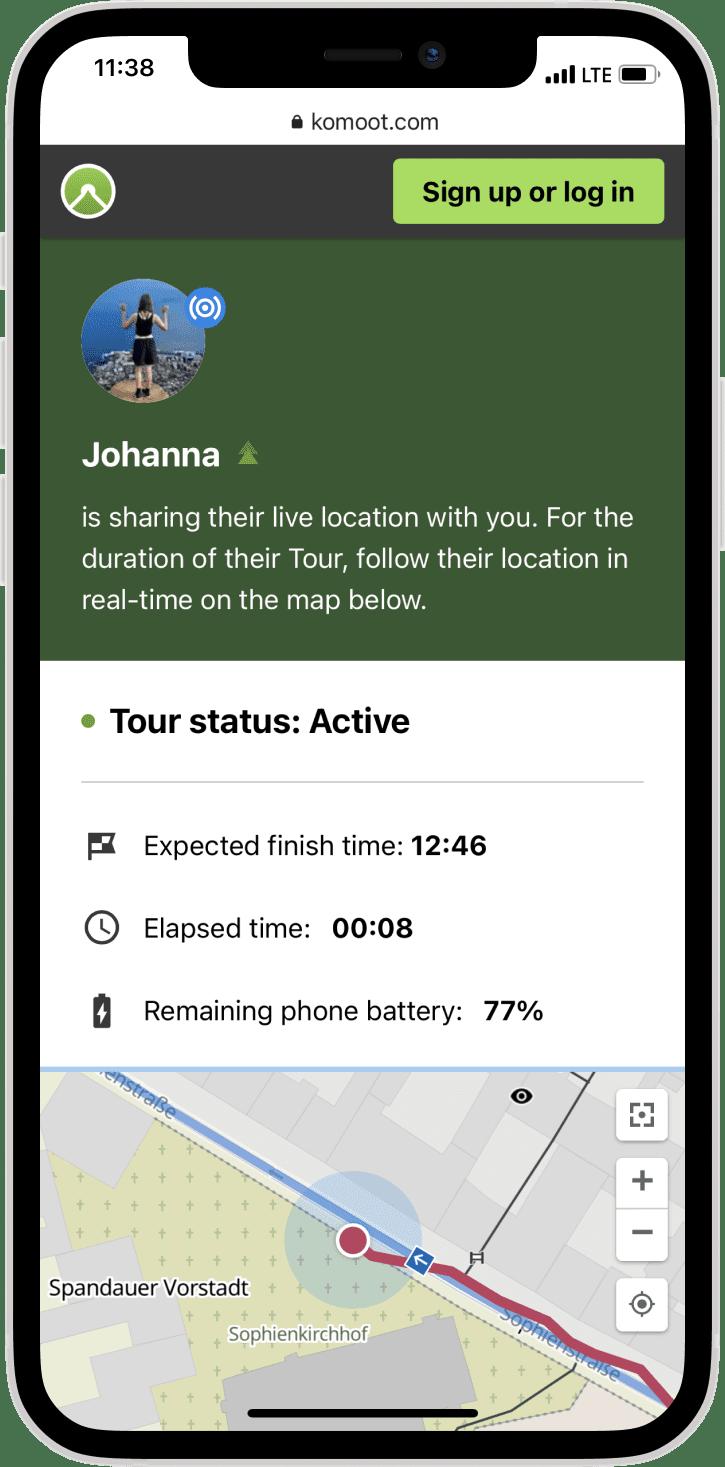 Komoot Live Tracking