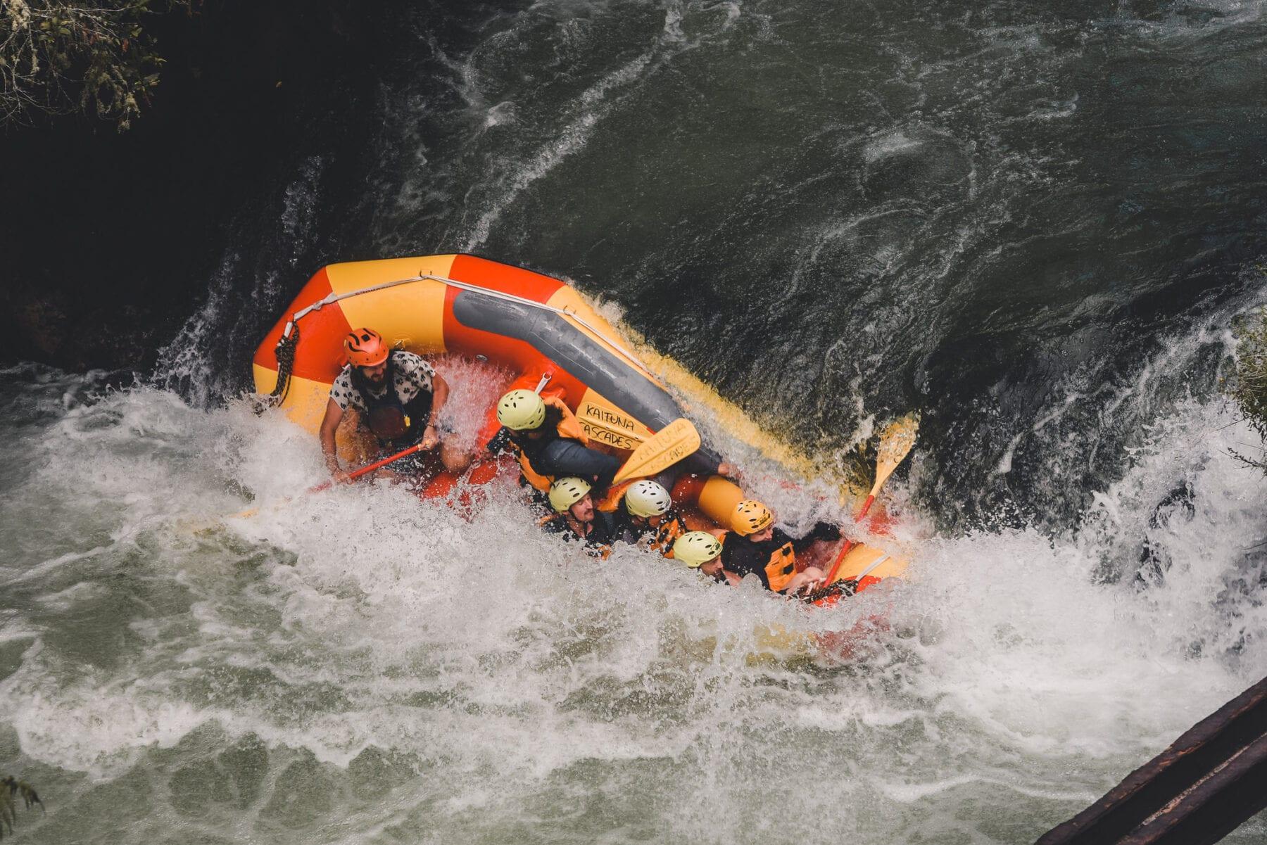 Kaituna rivier Tutea Falls Nieuw Zeeland raften te water