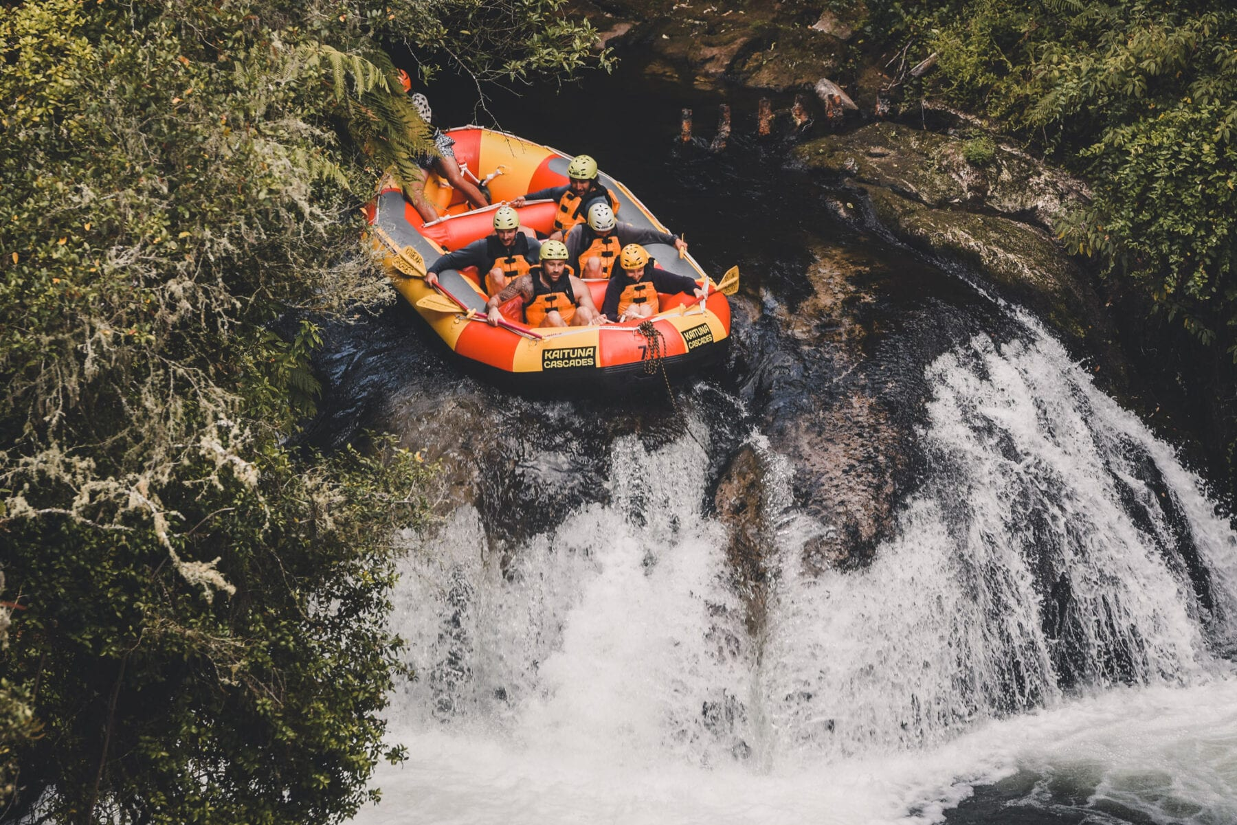 Raften op de Kaituna rivier Tutea Falls Nieuw Zeeland