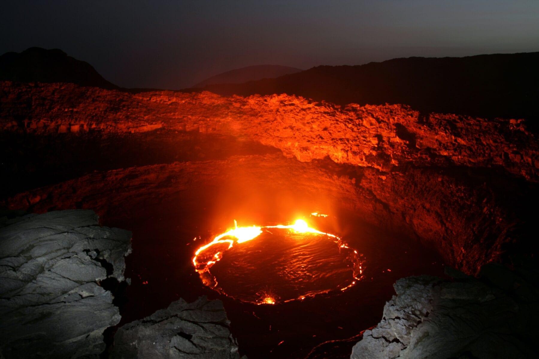 Nummer negen in de lijst van afgelegen gebieden: Erta Ale lavameren