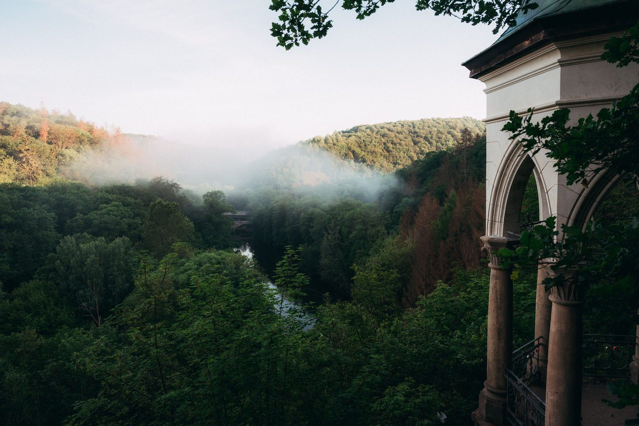 Uitzicht Drei-Täler-Tour met kapel