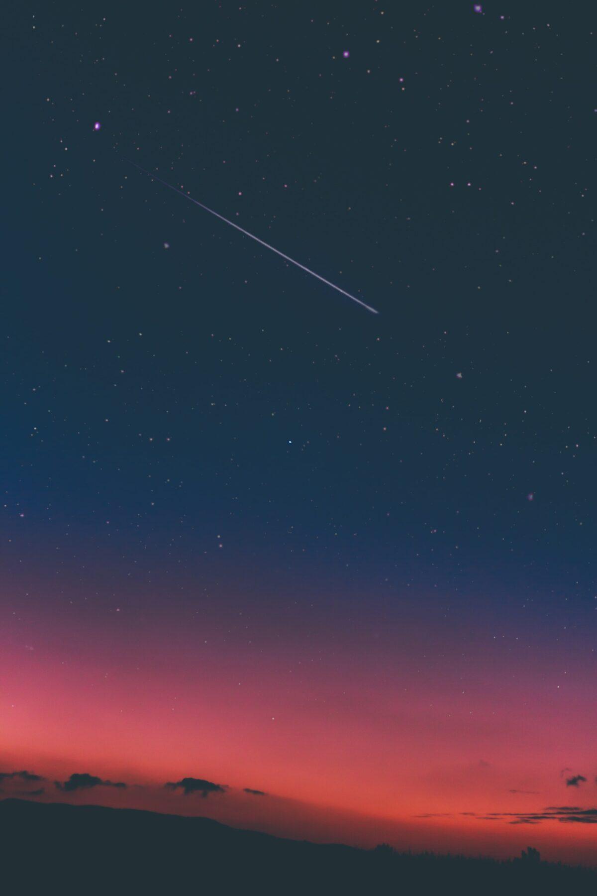Vallende ster roze lucht